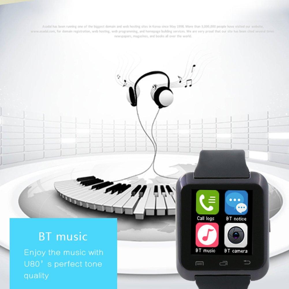 Ceweal® U80 Bluetooth Smart Watch Inteligente Arco Reloj Teléfono Compañero para Android IOS Iphone Samsung LG HTC Negro