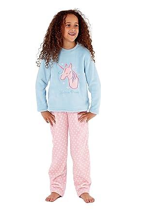 3709333643ad Girls Fleece Pyjama Owl Love you Unicorn Dream Embroidered Selena Soft  Nightwear  Amazon.co.uk  Clothing