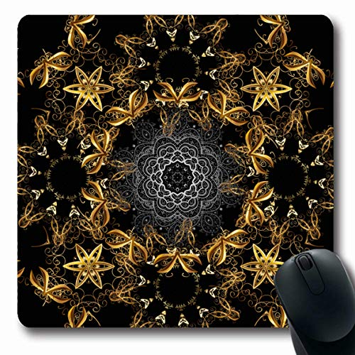 Filigree Bouquet - LifeCO Computer Mousepad Brown Black Golden Ornate Arabic Arab Damask Gray Bouquet Classic Eastern Design Filigree Oblong Shape 7.9 x 9.5 Inches Oblong Gaming Non-Slip Rubber Mouse Pad Mat