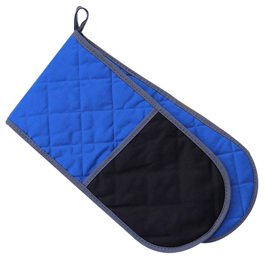 Double Oven Gloves, Widened Double Gloves, Cotton Pot Rack, Machine Washable, Blue 76cm (Color : Blue, Size : 76cm)