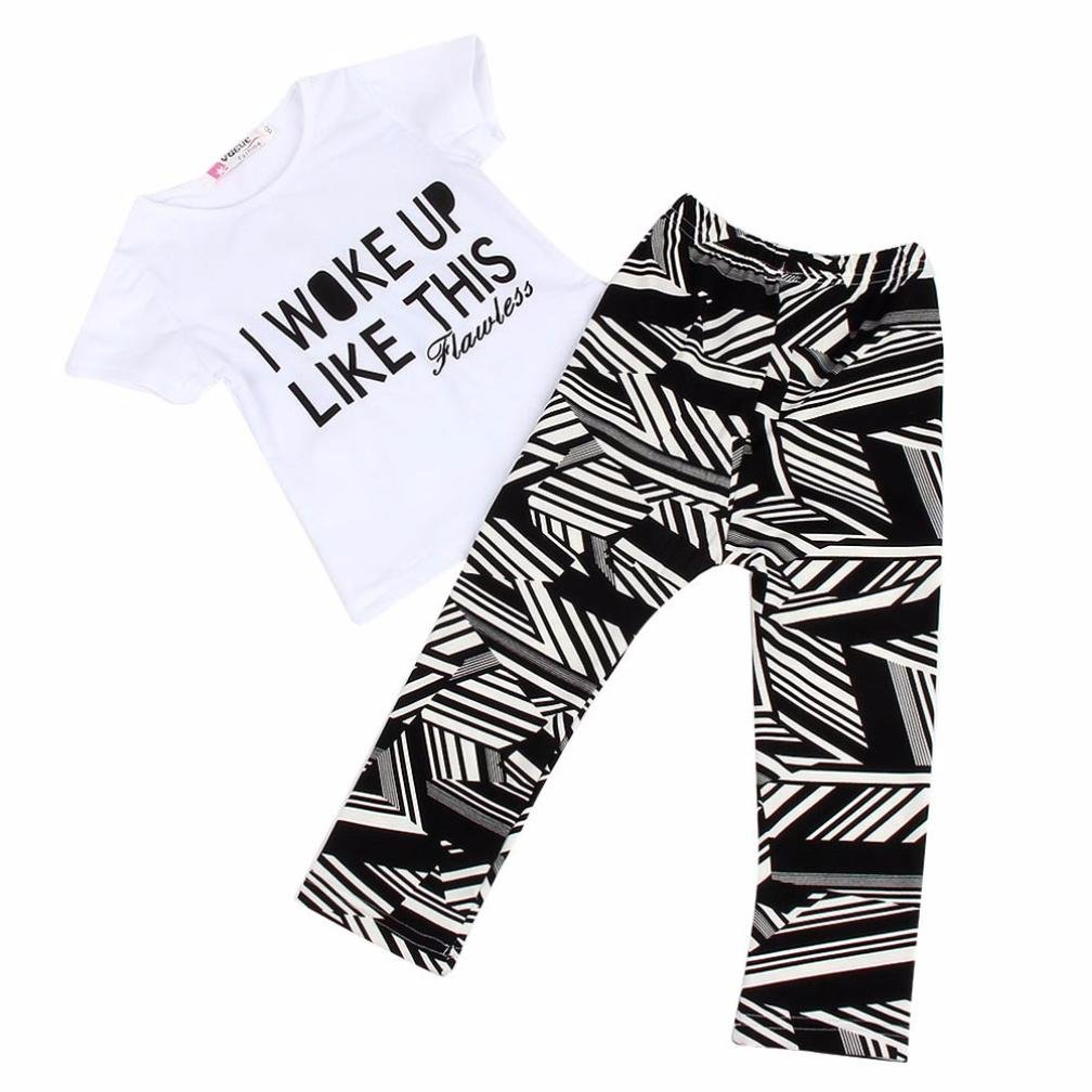 For 1-7 Years old Girls,Clode® Fashion Kids Baby Girls Outfit Letters Printing Short Sleeve Shirt and Stripe Pant Legging Set Clothing Clode-TS-0031
