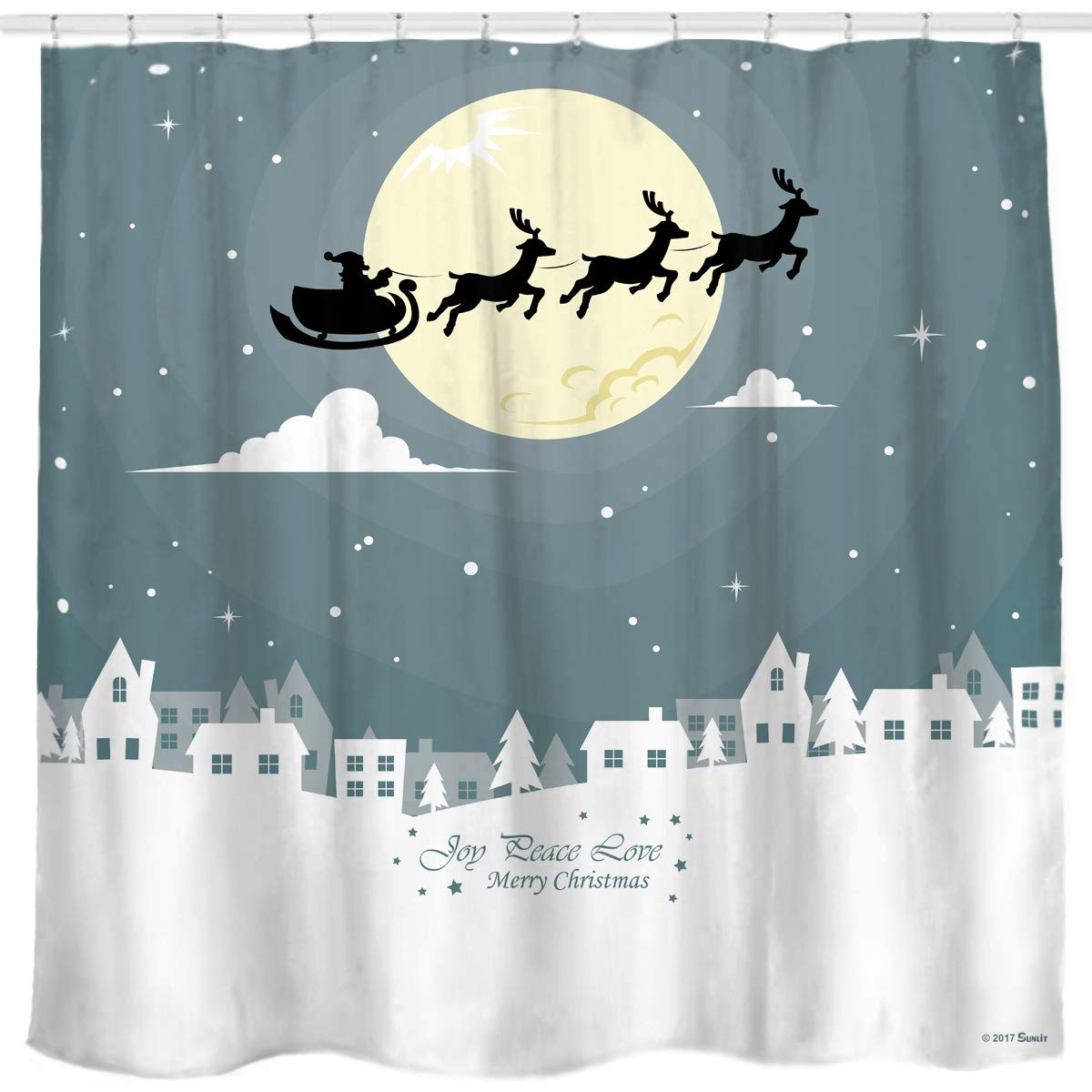 Sunlit Custom Home Decor Christmas Decoration Background Fabric Shower Curtain Santa Sleigh Flying Reindeer Festive Bathroom Novelty for New Year White Pale Blue Printed Window Curtain
