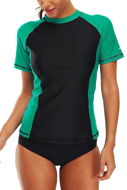 Black Green Vegatos Women's Short Sleeve Rash Guard UV Swim Shirt colorblock Rashguard Top