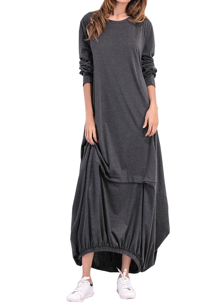Wicky LS Women's Long Sleeve Cotton Maxi s Solid Color Dress Style 1 Dark Gray S by Wicky LS