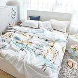 HMTOP Cartoon Animals Giraffe Bedding Comforter Twin Quilt Animals for Toddlers Baby Kids Girls Boys Teens(Twin,Cat White)