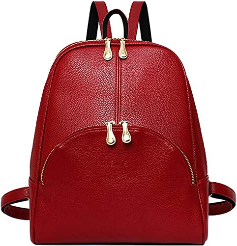 Korean PU Shoulder Large Capacity Backpack Preppy Style for Girl Women College Student Daily or Travel Bag,Red