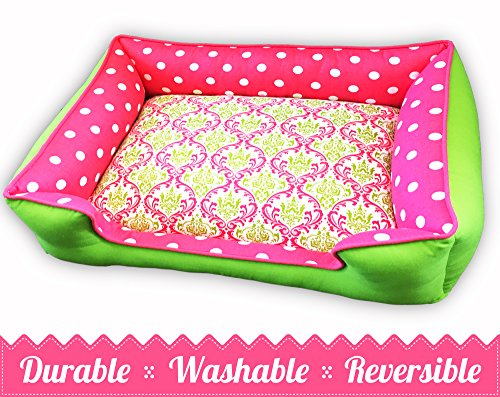 Pink & Chartreuse Pet Be | Ultimate in Comfort & Design | Bed is Reversible & Washable with a removable cover | Durable | Cat or Dog Bed | Quality Pet Bed | Dog Bed | Cat Bed by Sammys Sew Shop