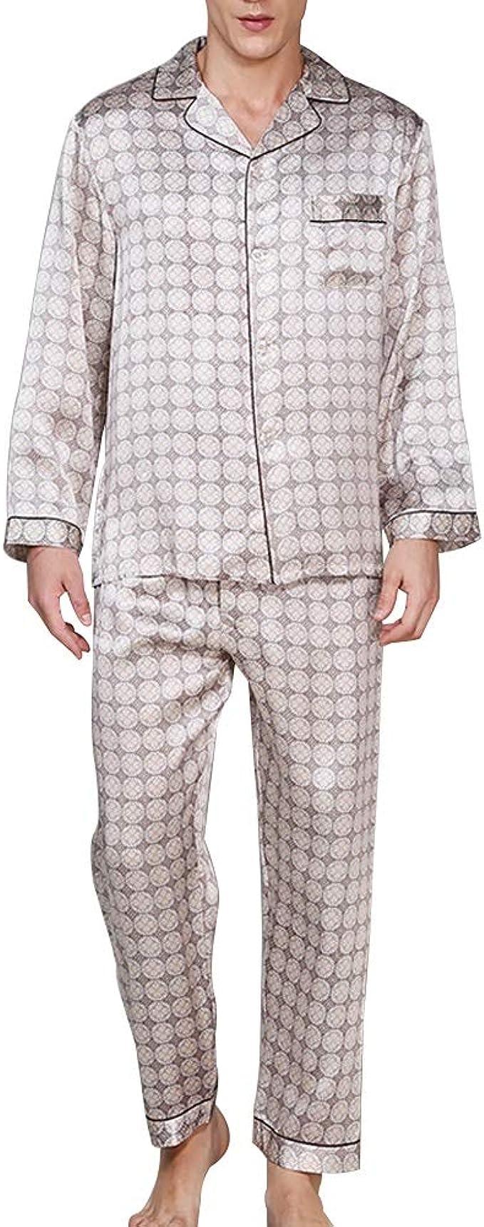 YONGYONG Camisa For Hombre Pantalones De Manga Larga Pijama De Solapa Conjunto 100% Tela De Seda Ropa Casual For El Hogar Clothing/Sleepwear: Amazon.es: Ropa y accesorios