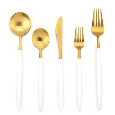 Deacory Flatware 18/10 Stainless Steel 5 Piece Set Service for 1 White and Matte Gold Wedding Event Restaurant Use