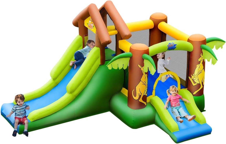COSTWAY Castillo Hinchable con Tobogán para Infantil Parque Centro de Juego de 390x340x230cm para Jardín Exterior Hogar