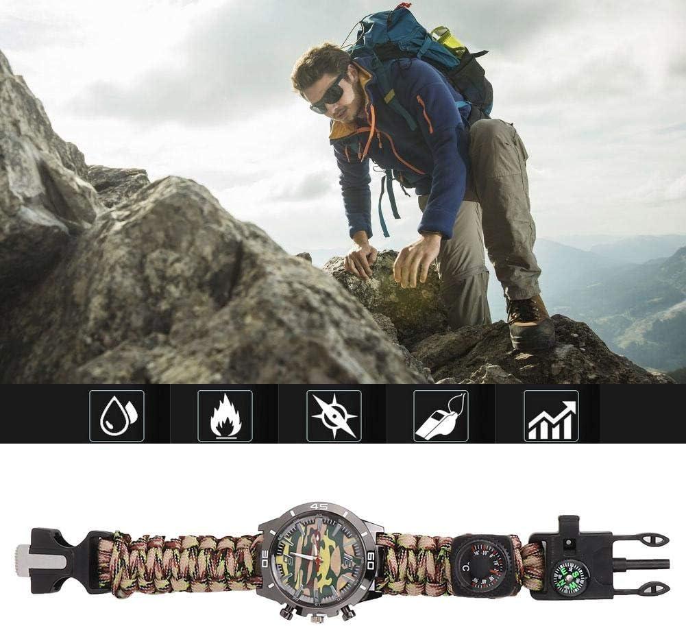 Bracelet de Survie Montre de Camping Camping Montre de Survie en Plein air Montre multifonctionnelle Tout-en-Un avec Compass Whistle Thermom/ètre Bracelet Paracorde Randonn/ée Camping
