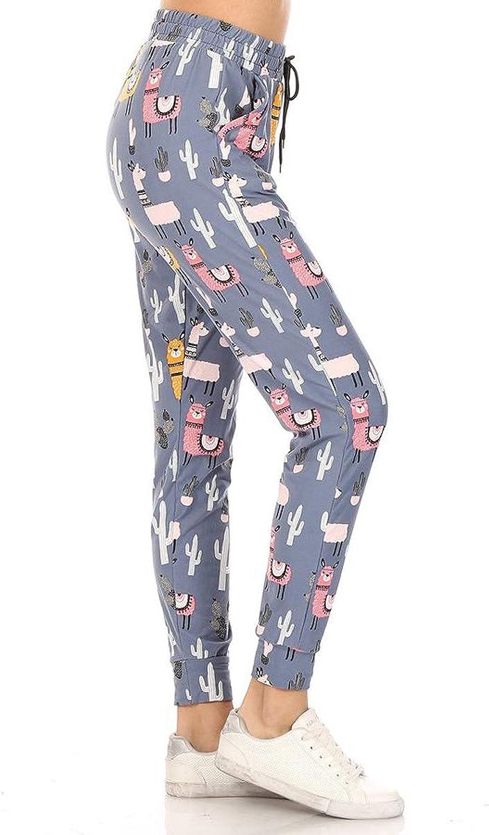 BAT1 S-XL Leggings Depot Premium Womens Joggers Popular Print and Solid High Waist Track Yoga Full Length Pants