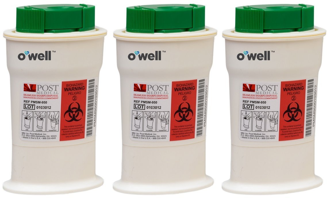 O'WELL Mini Sharps Container - Portable safety disposal unit for used Diabetes Test Strips & Lancets, with cap that clips off Needle Tips (3 Pack) by OWell