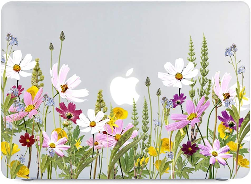 Lapac MacBook Pro 15 Inch Case 2019 2018 2017 2016 Release, Clear See Through Case for A1990/A1707, Daisy Floral Garden Flowers Pattern Matte Hard Shell Case with Keyboard Cover, Galsang Flowers
