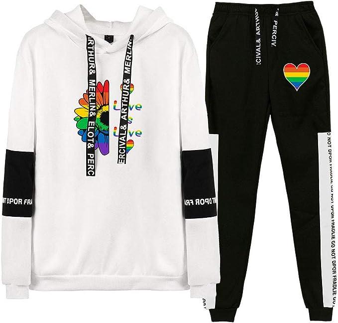 Landove LGBT Surv/êtement 2 Pieces Femme Crop Top et Short