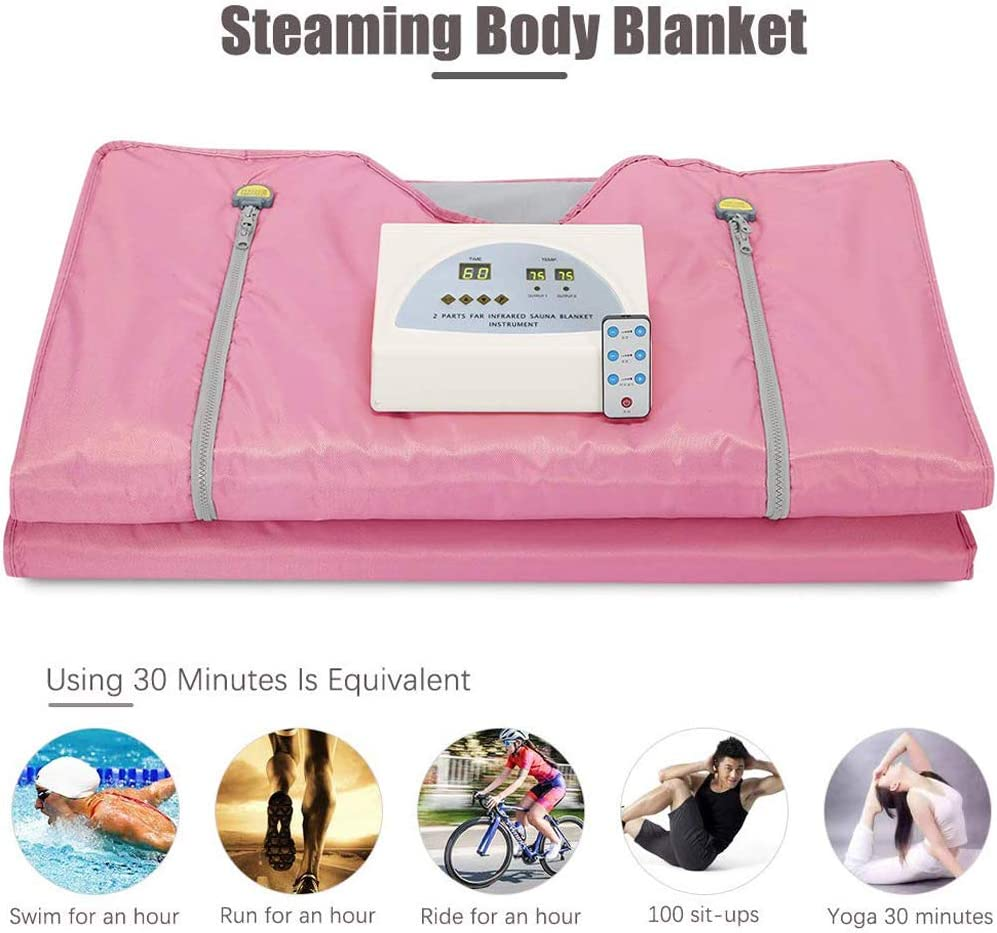 S SMAUTOP 2 Zone Digital Far-Infrared Oxford Sauna Blanket,Weight Loss Body Shaper Professional Detox Therapy Anti Ageing Beauty Machine Pink FIR