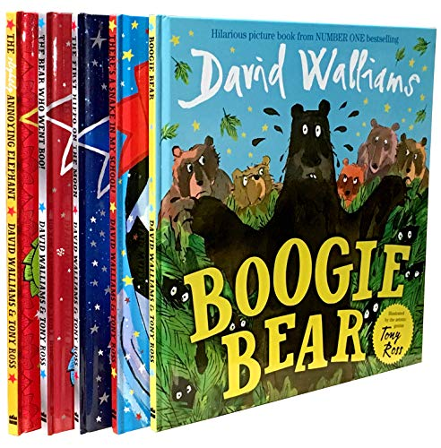 The David Walliams Collection 5 Books Set (The first hippo on the moon, the bear who went boo, there's a snake in my school, boogie bear, the slightly annoying elephant)