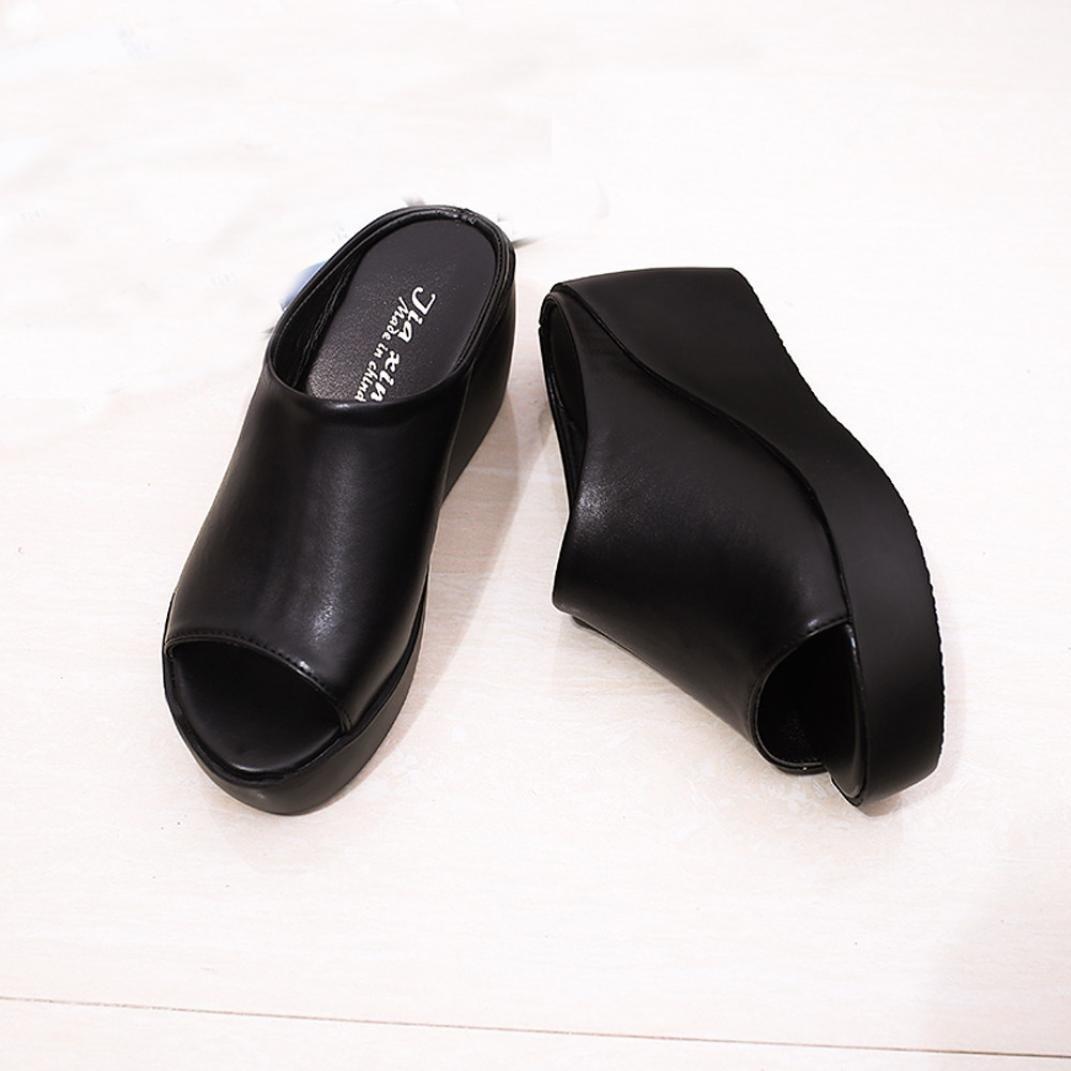 CLEARANCE SALE! MEIbax frauen im sommer mode - freizeit - fisch im mund sandalen dicken boden pantoffeln (39, Schwarz)39|Schwarz