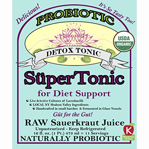 Detox SuperTonic, for Diet Support, Organic & Naturally Probiotic - 11 servings - No Shipping charges with minimum. Raw Fermented, Unpasteurized, Certified Kosher, Vegan &, Gluten Free