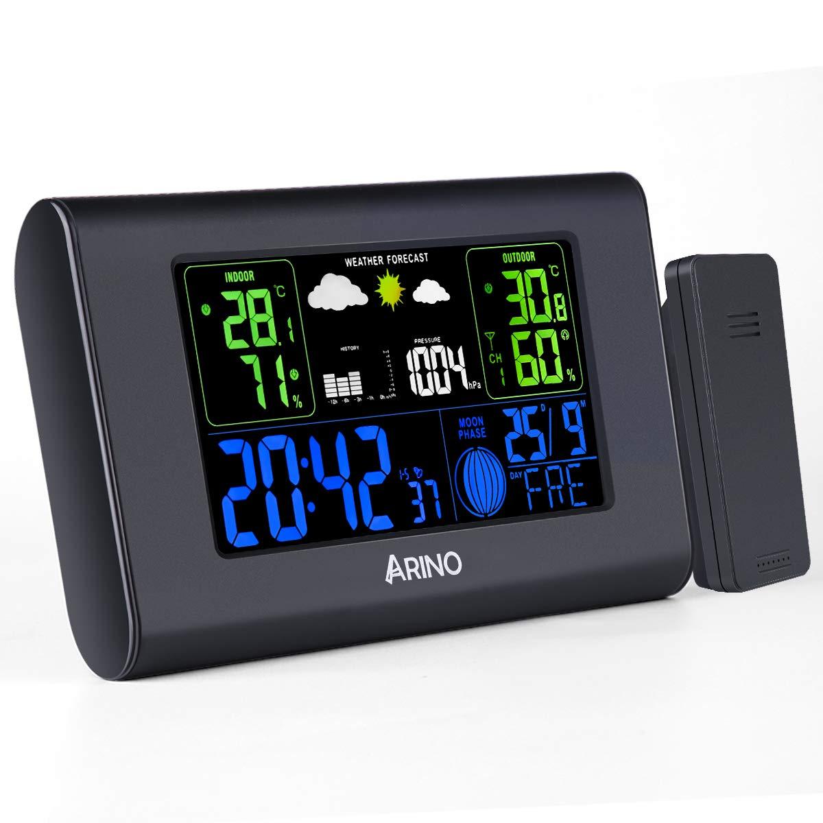 ARINO Stazione Meteo con Sensore Esterno Wireless Stazione Meteorologica Professionale da Casa, Schermo LCD a Colori con Sveglia Digitale Allarme per Casa, Ufficio, Soggiorno, Negozi