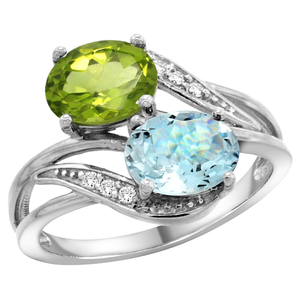 10K White Gold Diamond Natural Peridot & Aquamarine 2-stone Ring Oval 8x6mm, size 8