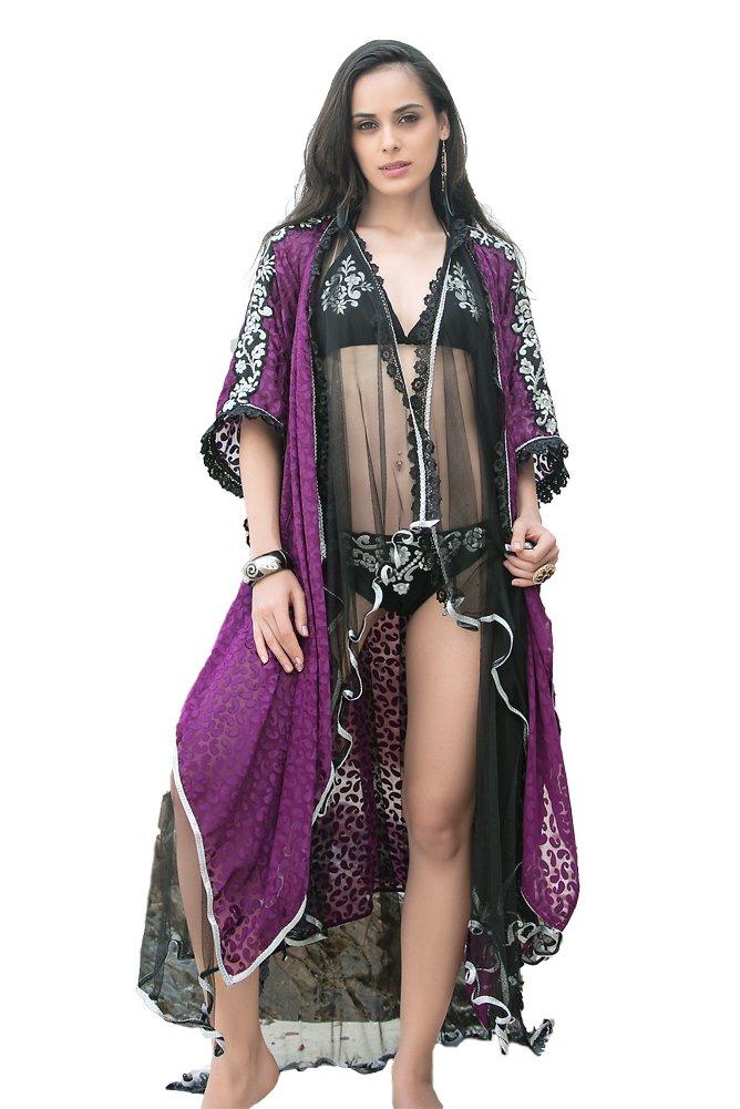Kolkozy Fashion Women's Sexy Beach Cover Ups with Bikini Set Purple by Kolkozy Fashion