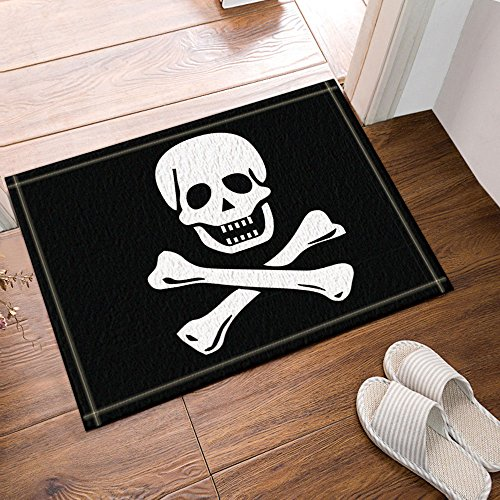 NYMB Pirate Flag Bath Curtain, Polyester Fabric Waterproof Bath Rugs, Non-Slip Doormat Floor Entryways Outdoor Indoor Front Door Mat, Kids Bath Mat, 15.7x23.6in, Bathroom Accessories (Fabric Pirate Flag)