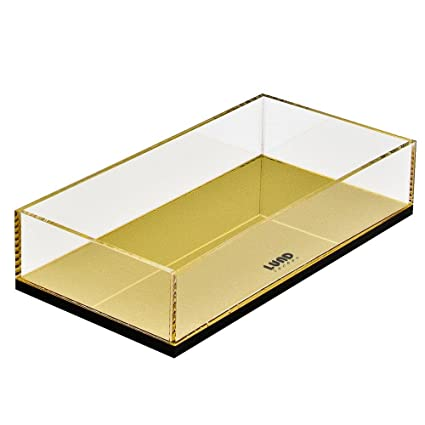 Flash oro bandeja de almacenamiento y organizador de tocador de sobremesa en acrílico para accesorios,