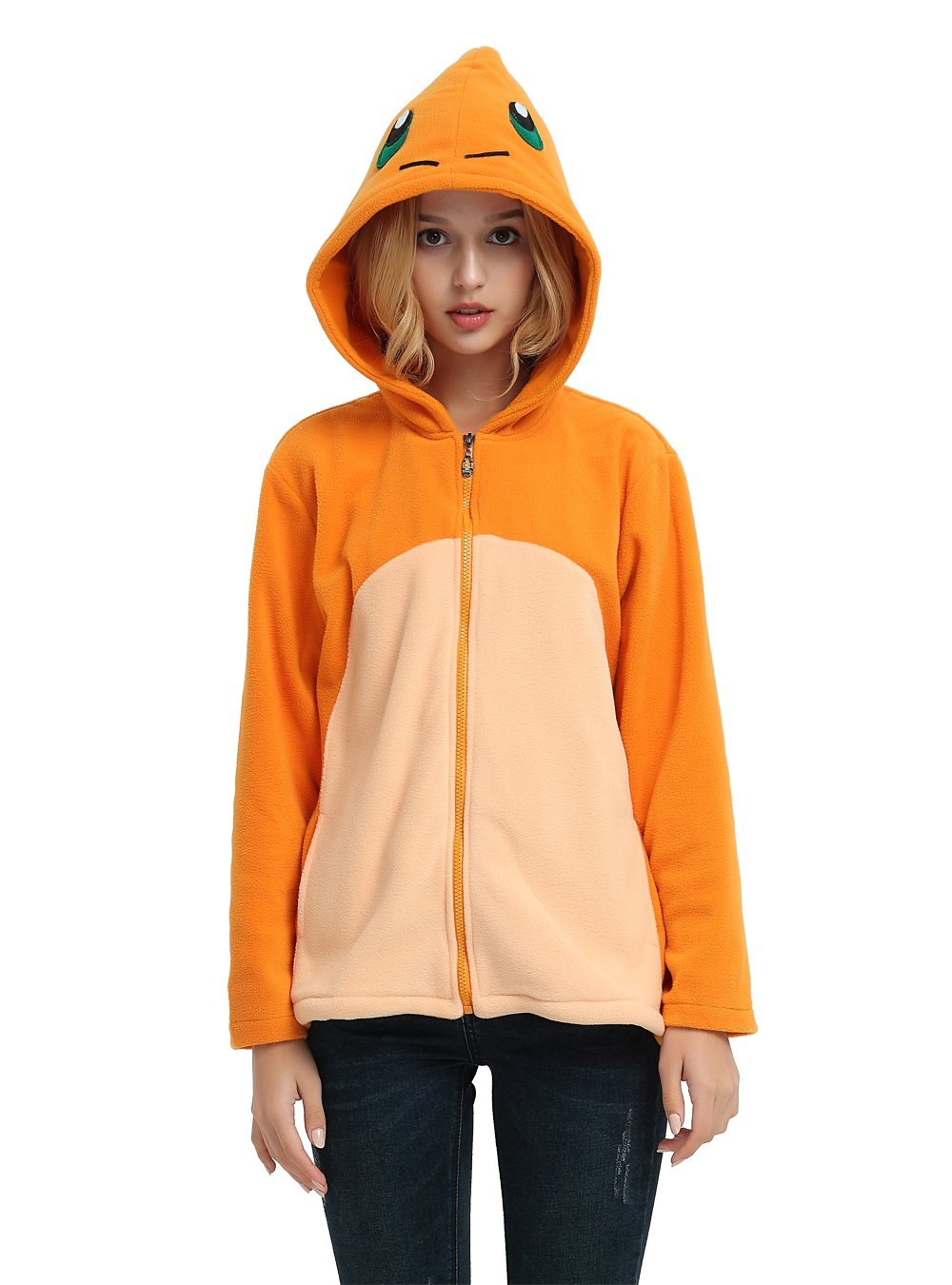 Es Unico Pokemon Charmander Hoodie Jacket for Women, Men and Teenagers(Small)
