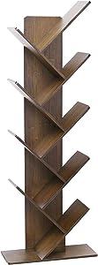 C&AHOME 9-Shelf Tree Bookshelf, Bamboo Bookcase, Book Rack, Storage Shelf Rack in Living Room, Free-Standing Books Holder Organizer, Space Saver for Home, Office Retro Brown