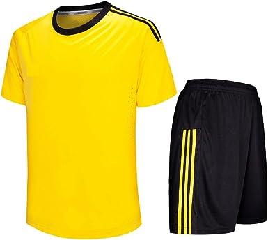 KINDOYO Hombres y niños Jersey de fútbol, Camisa de fútbol de Manga Corta + Pantalones de fútbol, Ropa de Entrenamiento de fútbol/Traje de Partido de fútbol (Amarillo,EU 31=Tag 32): Amazon.es: