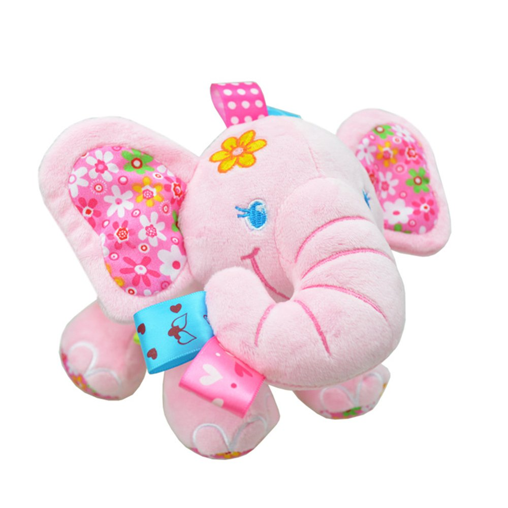 Rolina Baby Muscial Stroller Toys Elephant Stuffed Doll (Pink)