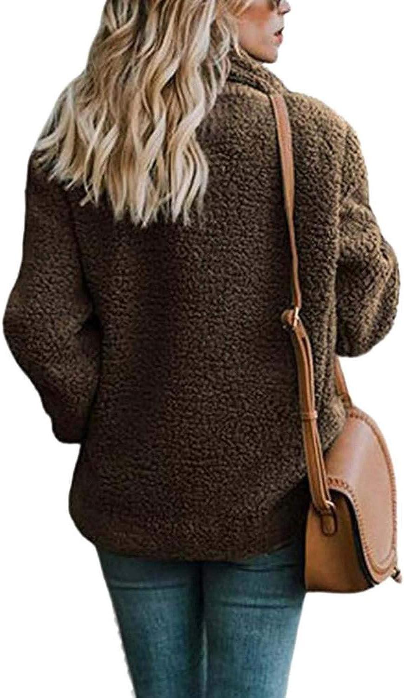 Womens Winter Coat Women Cardigans Ladies Warm Jumper Fleece Faux Fur Coat Hoodie Outwear,F,M