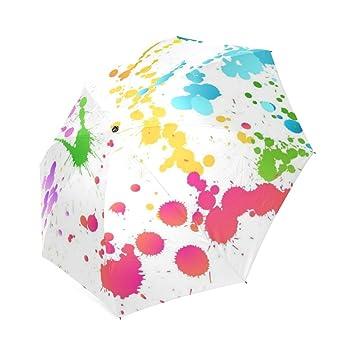 wokfox pintura salpicaduras Custom plegable paraguas personalizados plegable lluvia paraguas