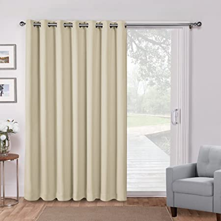 PONYDANCE Partition Screen For Sliding Door Themal Insulated Blackout  Draperies Wide Width Curtain Drapes Energy Efficient