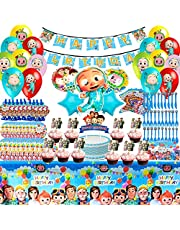 Cocomelon Party Supplies Decorations - 123 Pieces Cocomelon Birthday Decorations Include Happy Birthday Banners, Tablecloths, Cake Hats, Dinner Plates, Knives, Forks, Spoons, Invitation Cards, Blowing Dragons, Tissues, Latex Balloons, Specially Designed for Boys and Girls Who Like Cocomelon Very Much