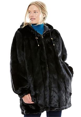 Women's plus size jacket hooded in faux fur