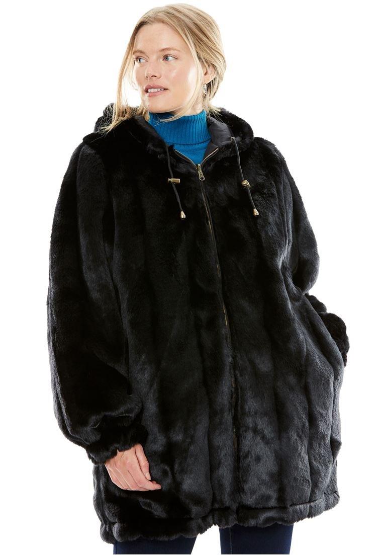 Women's Plus Size Jacket, Hooded In Faux Fur Black,2X