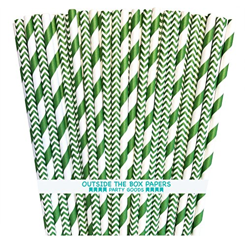 Outside the Box Papers Green Stripe and Chevron Paper Straws 7.75 Inches 100 Pack Green, -