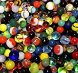 "Unique & Custom {Various Sizes 9/16'', 5/8'', 3/4'' Inch} 2 Pounds Of ""Round"" Opaque & Clear Marbles Made of Glass for Filling Vases, Games & Decor w/ Random Fun Collectible Design [Assorted Colors]"
