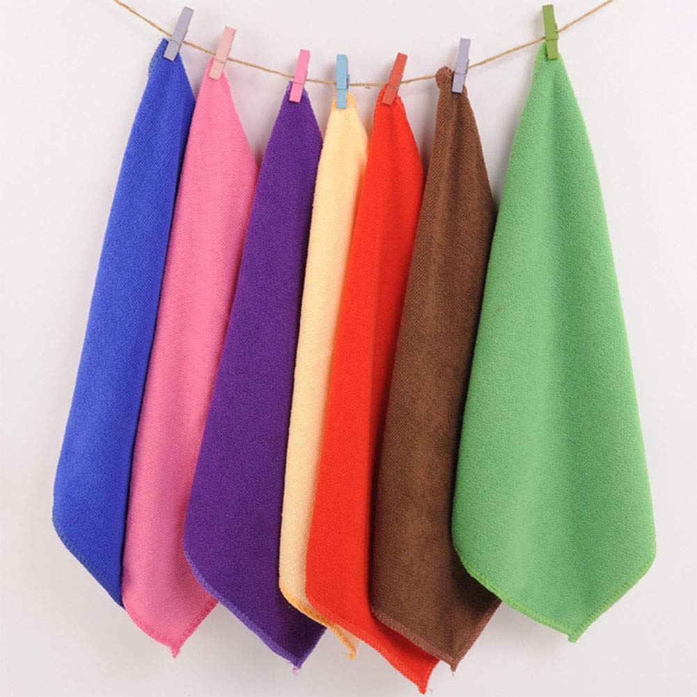 2Pcs 25x25cm Microfiber Cleaning Cloth Towel Home Car Washing Cloth