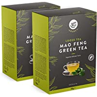 Marca Amazon - Happy Belly Select - Hojas selectas de té verde Mao Feng, Hojas de té sueltas, 2x150 g