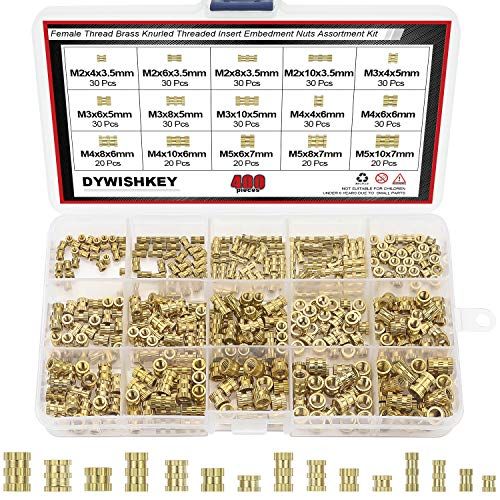 3d Molded Wood - DYWISHKEY 400 Pieces M2 M3 M4 M5 Female Thread Knurled Nuts Brass Threaded Insert Embedment Nuts Assortment Kit