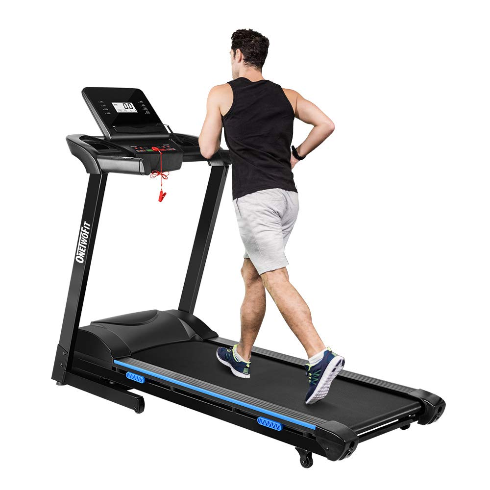 ONETWOFIT 2.5 HP Folding Treadmill with Auto Incline,Electric Treadmill with 264 lbs High Weight Capacity for Home Gym Cardio Fitness OT123