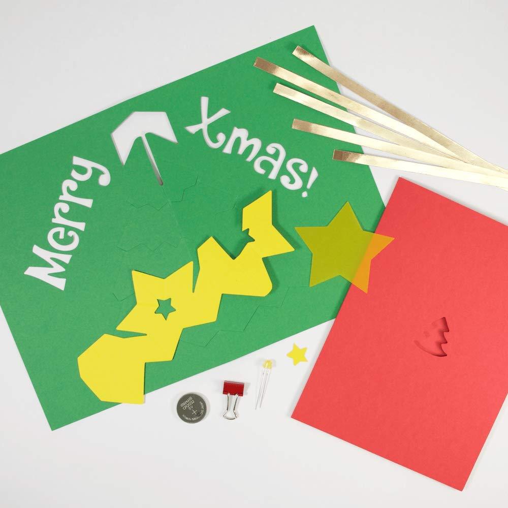 amazoncom diy light up pop up card kit xmas tree arts crafts