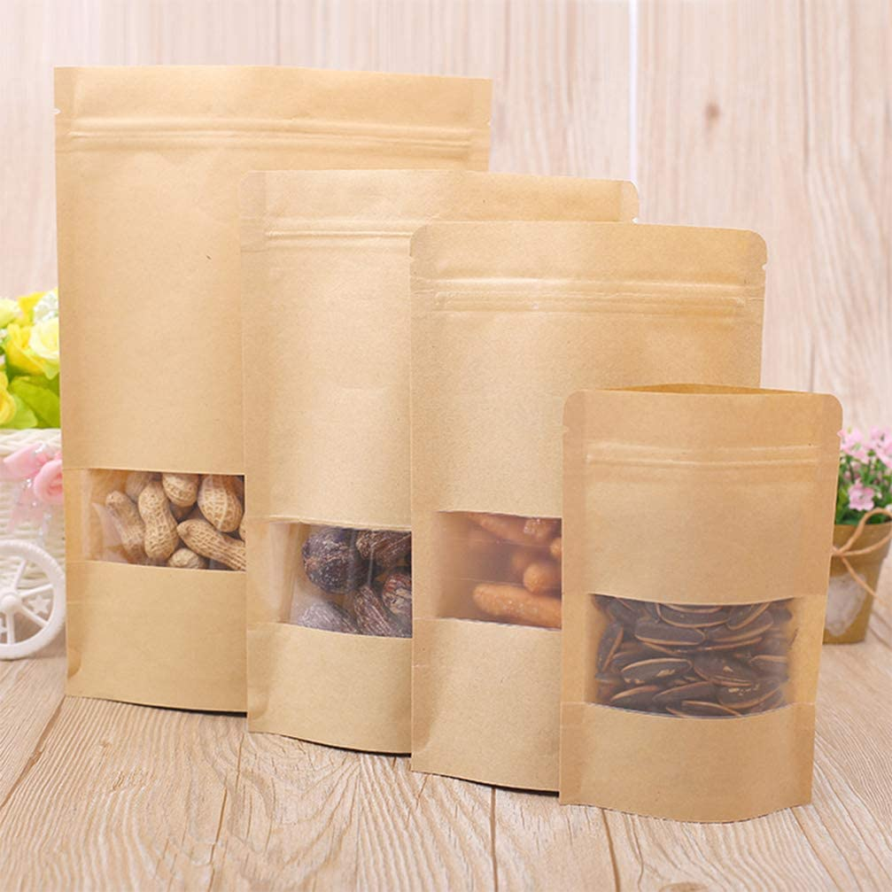 Toyvian 50 Piezas Bolsas de Cierre de Papel Kraft para T/é Granos de Caf/é Condimento Nueces Galletas