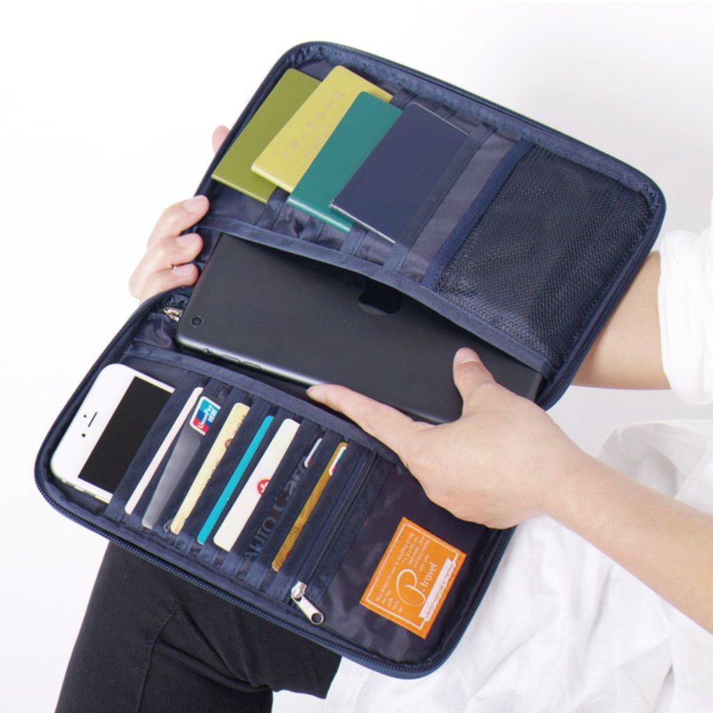 Reiseorganizer Ausweistasche Reisedokumententasche Reisebrieftasche mit Rei/ßverschluss Gesch/äftsreise f/ür M/ünzen Stift Kreditkarten Passport