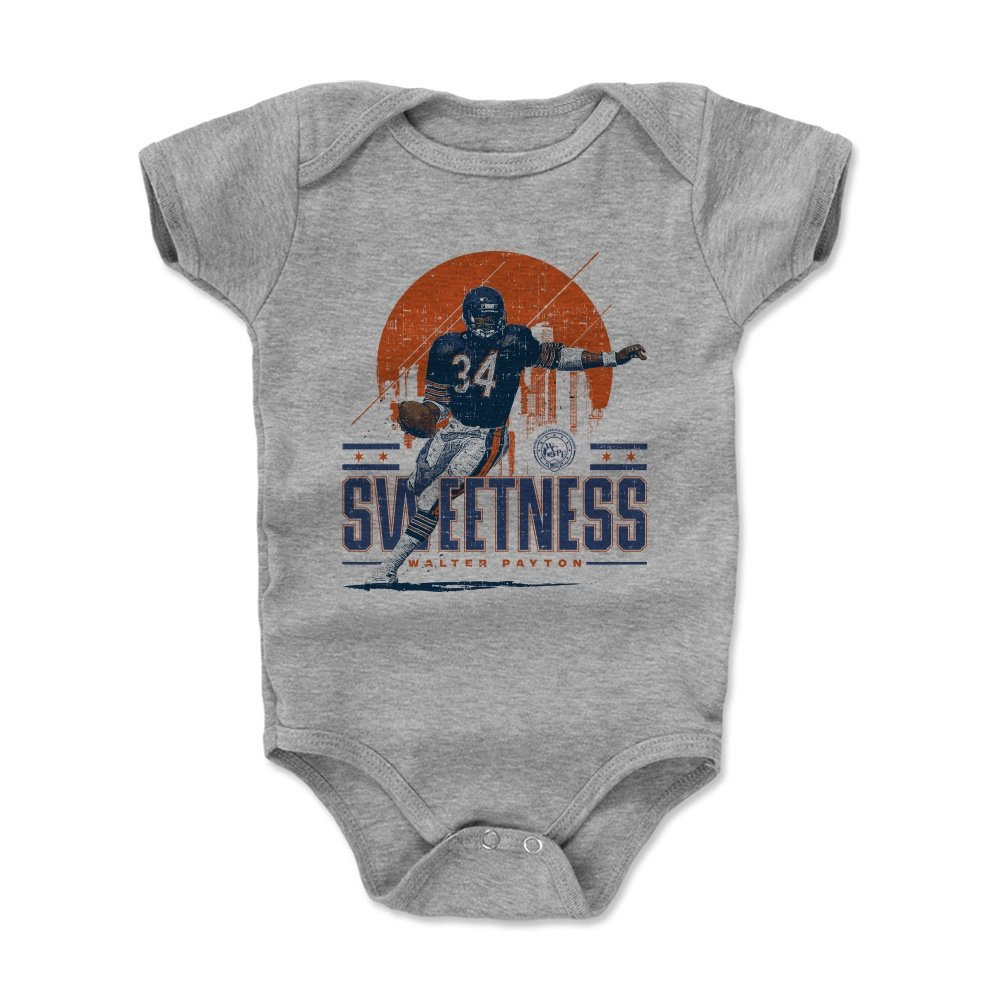 500 LEVEL Walter Payton Baby Clothes, Onesie, Creeper, Bodysuit 12-18 Months Heather Gray - Vintage Chicago Football Baby Clothes - Walter Payton Chicago Skyline