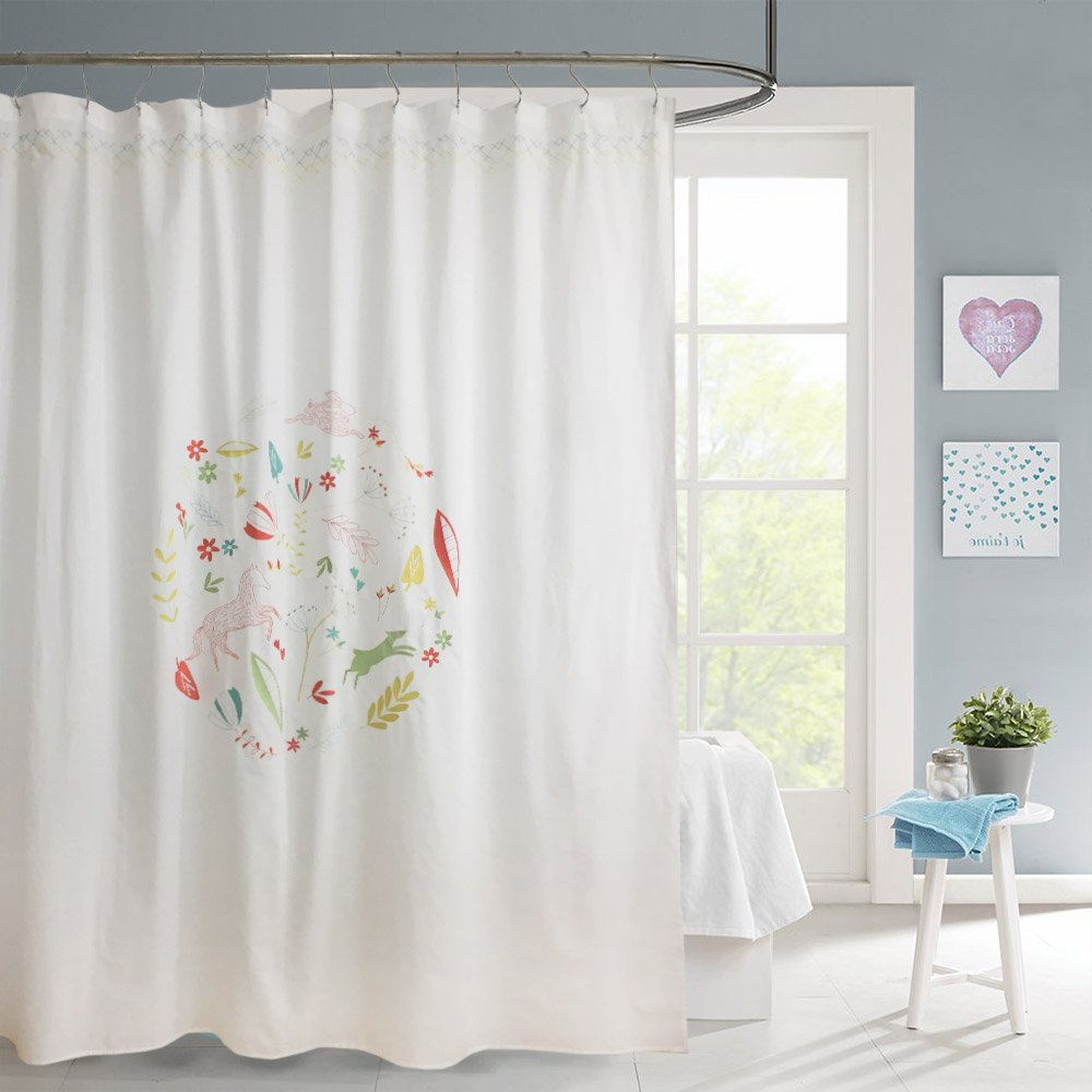 Amazon Merryfeel Shower CurtainFabric Embroidered Curtain 180 X 190 Cm 70x74 Approx Home Kitchen