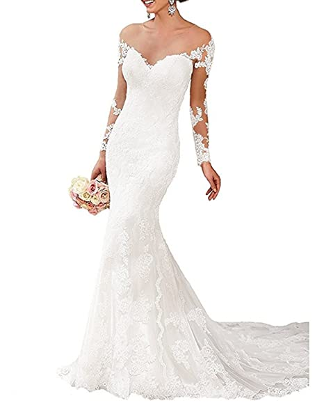 OYISHA Women\'s Off Shoulder Lace Mermaid Wedding Dresses Long Sleeve ...